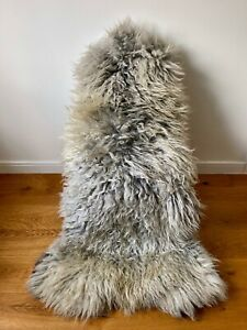XXXL Large Genuine Gotland Sheepskin Rug Natural Grey/Silver/Ivory Curly Fur