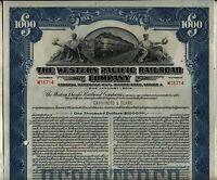 $1000 Western Pacific Railroad Company Bond Stock Certificate