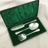 Antique Silver Plate Serving Cutlery Ice Cream Spoon Cake Slice Walker Hall Box