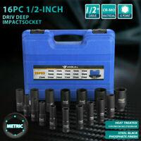 "16PC 1/2"" Drive Air Impact Deep Socket Set SAE 1/2"" DR Impact Wrench Sockets US"