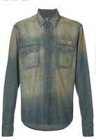PRPS GOODS & CO. Washed Denim Sport Shirt Indigo Size 3XL $375