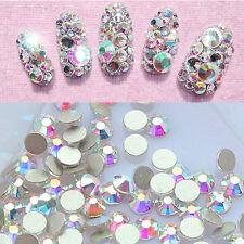 AB Crystal Nail Art Rhinestones Plain Rear Glitter Stones Nail Decor Accessories
