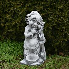 """Großer massiver Gnom """"Ich mache den Garten schön"""" Troll Wichtel Kobold Steinguss"""