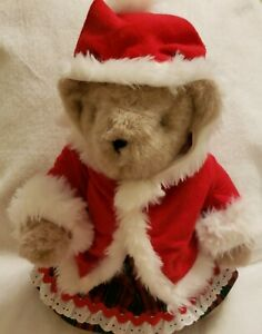 Vermont Teddy Bear 14, Fully Jointed, Comes with handmade Mrs. Santa, 1984, USA