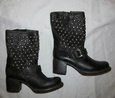 FRYE JENNA VERA DISC stud studded biker moto leather boots 6.5 M