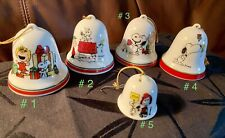 Vintage  ~ (5) ~ Peanuts/Snoopy/Peppermint Patty Ceramic  Xmas Bells/Ornaments