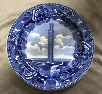 "VINTAGE FLOW BLUE ""Pilgrim Memorial Monument"" Plate-Wedgwood-Made in England"