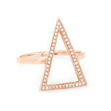Micro Pave Diamond Triangle Ring Estate 14k Rose Gold Fine Estate Jewelry