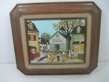 Vintage H. Hargrove School House Children Painting Signed Brown Wood Frame