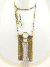 Lucky Brand Two-Tone Imitation Pearl Fringe Pendant Necklace