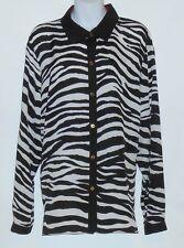 Jones New York Collection Woman Plus Size Long Sleeve Zebra Print Blouse 20W NWT