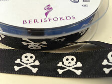 Skull and Crossbones Pirate 15mm Berisfords Ribbon - Per Metre
