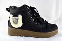 Schnüren Damen Schuhe Stiefeletten Boots Winter Sneaker Gr.36-41 Schwarz A.002