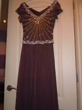 NWOT J Kara Mock Two Piece Beaded Chiffon Dress SZ 6 Chocolate