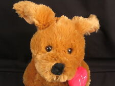 I LOVE YOU HEART PENDANTS SOFT POSEABLE EARS PUPPY DOG  VALENTINES PLUSH STUFFED