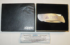 ZIPPO ADVERTISING FOLDING KNIFE PRISM LABORATORIES IN BOX W/ INSERT