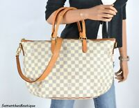 LOUIS VUITTON RIVIERA MM DAMIER AZUR LEATHER SATCHEL SHOULDER BAG HANDBAG PURSE