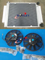 Aluminum Radiator&Twin Fans Mazda RX2 RX3 RX4 RX5 RX7 without Heater Pipe Manual
