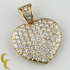 Ladies 18k Yellow Gold Heart Pendant w/ Pave Round Brilliant Diamonds