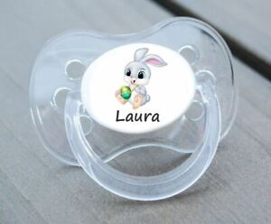 PERSONALISED DUMMY PACIFIER SOOTHER, ALL TEATS,SIZES & COLOURS, EASTER BUNNY 1