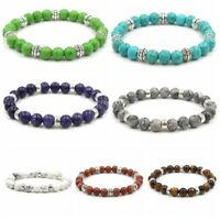 Fashion Unisex Healing Balance 8MM Beaded Bracelet Lava Yoga Reiki Prayer Stones