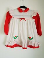 Vintage Fayette Baby Girls Dress and Pinafore Red/White Smocking 6 mo