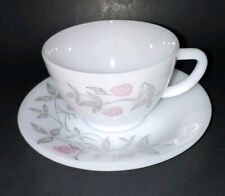 VTG Milk Glass Tea Cup and Saucer Federal Glass Clover Blossom Pink Floral USA