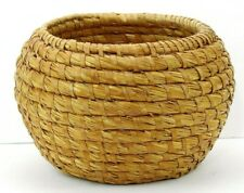 "Handmade Woven Wicker Basket Round 7"" tall x 10.5"" dia Natural Color"