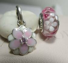 2 Pandora Bead Charm Magnolia Bloom Pink Cerise Enamel Daisy Flower Gift Pouch