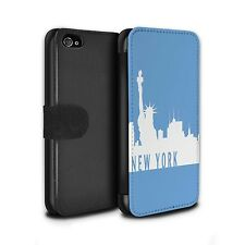 PU Leather Case/Cover/Wallet for Apple iPhone 4/4S/City Skyline/New York/Blue