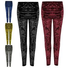 New Women's Sexy Crushed Velvet Velour  Elasticated Leggings Plus Size 12-26
