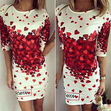 Womens Floral Slim Bodycon Mini Pencil Dress Evening Cocktail Party Clubwear New