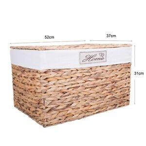 Water Hyacinth Wicker Trunk Nursery Toy Blanket Storage Chest Basket Box Bedside