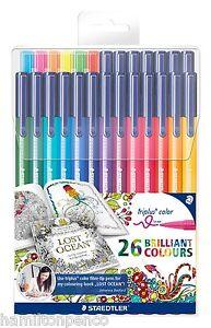 STAEDTLER TRIPLUS COLOUR PENS - Box of 26 assorted colour pens, including neons!