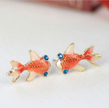 1 Pair Cute Fashion Earrings Swimming Gold Fish Japanese Koi Carp Earrings Gift