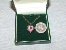 Ruby & Diamond gold heart pendant 9ct gold chain high quality gift