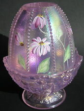 Fenton Glass Fairy Lamp Pink Opalescent Hand-Painted Daisies Signed C. Ireland