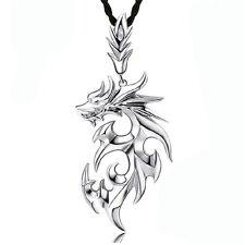 Dragon d'argent acier inoxydable hommes pendentif avec chaîne en cuir