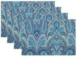 Waverly Blue Paisley Placemats Set of 4 Indoor Outdoor Beach Summer House