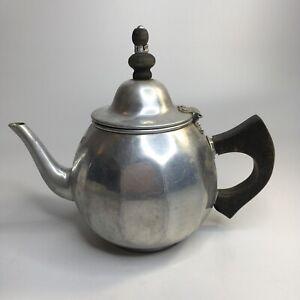 Vintage VIKO Aluminum Teapot Tea Kettle Attached Chain Infuser Strainer Wood