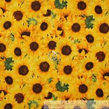 BonEful FABRIC FQ Cotton Quilt Yellow Sunflower Green Leaf Garden Kitchen Girl S