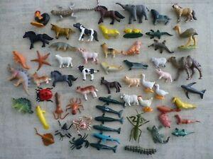 "Hard Plastic Toy Animal Lot (60)pcs Farm Zoo Sealife Jungle Dinosaurs 1.5"" - 3"""