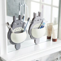 Cute Totoro Bathroom Wall Mount Toothbrush Holder Sucker Suction Cups Storages