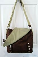 Katty Miyoko BROWN Leather & Canvas Rugged Shoulder Tote Laptop Book Bag