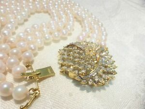 CULTURED 3 Strand PEARL NECKLACE Large 585 14k Gold Clasp loaded with Diamonds