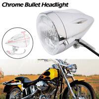 """Chrome 4.5"""" Bullet Headlight For Harley Sportster XL Dyna Softail Chopper Bobber"""