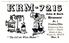 Vintage Moonshine Still Postcard QSL Card Amateur CB Ham Radio Creston Ohio Wine