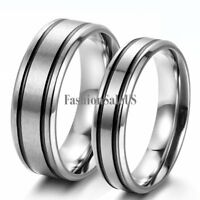 Silver Stainless Steel Black Strips Couples Wedding Prosime Ring Engagement Band