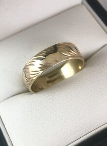 9ct Yellow Gold 6mm Wide Patterned Band Ring Size L Item ~ A9038