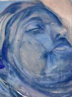 Malerin Brigitte Tietze Berlin Portrait Schlafende Frau  60 x 50 Expressiv Blau